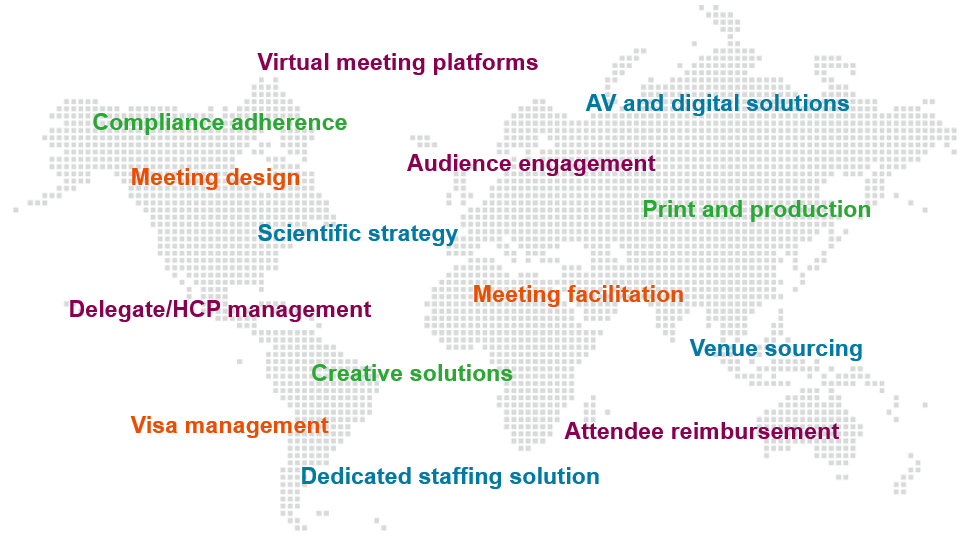 World map infographic featuring Parexel's various biopharmaceutical meeting planning services.