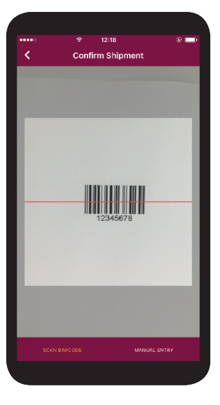 Scanning a shipment barcode in ClinPhone RTSM Mobile App
