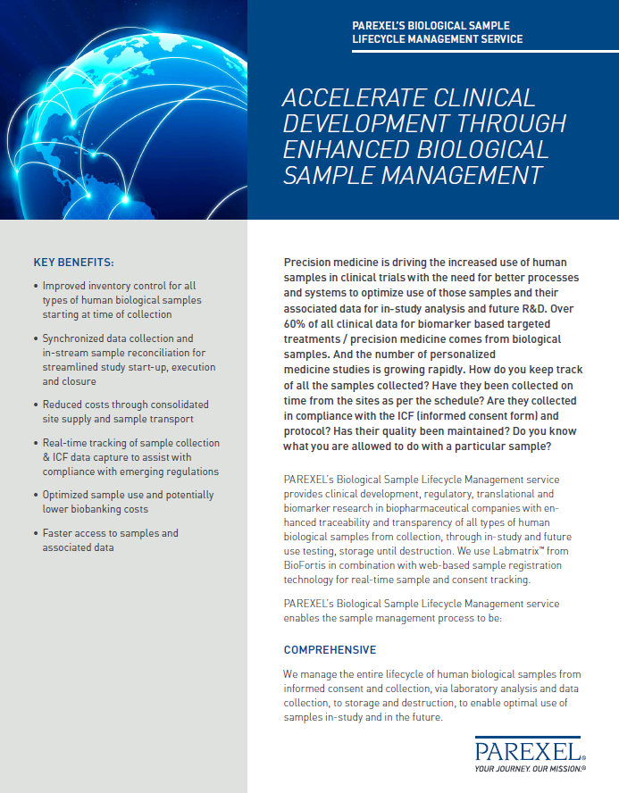 Image of PAREXEL's Biological Sample Lifecycle Management service factsheet