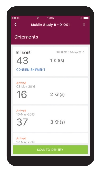 Shipment arrival notifications in ClinPhone RTSM Mobile App