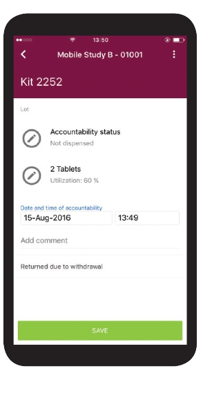 Recording returned medication in ClinPhone RTSM Mobile App